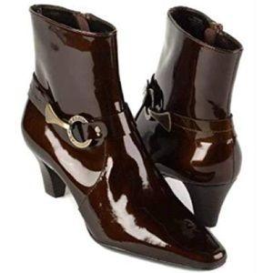 Anne Klein I-Flex Dk Bronze Leather Booties SZ 9